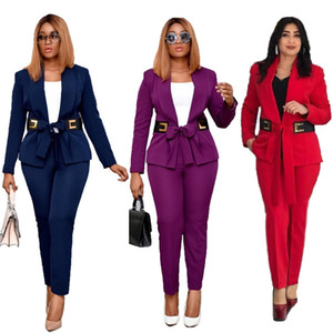 Womens Blazer with Belt Solid Color Pant Suits Spring Autumn Long Sleeve Casual Womens Clothing 2 Piece Set