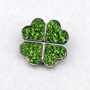 New Design High Quality Diy Snap Button Jewelry Full Rhinestone Lucky Clover Shape Ginger Button Snap Charms Fit Bracelets Uvf0#