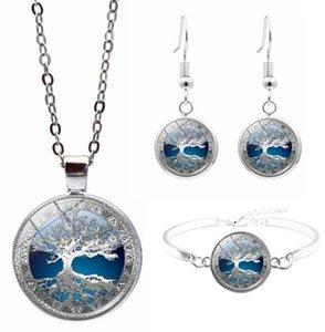 DHL Necklace Bracelet Earrings Set Tree of Life Tibet Silver Cabochon Glass Pendant Set Chain Necklace Bracelet Earrings for women nd
