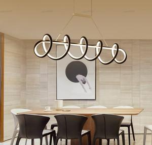 L120cm L90cm Modern LED Chandelier Lamp For Dining room Kitchen Living room Luminaires Led Chandelier Hanging Lamp Black White LLFA