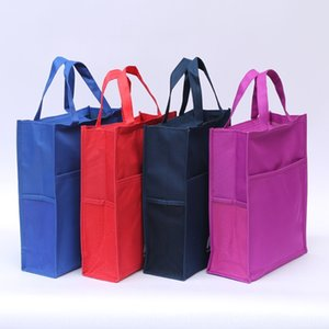 bolso de la lona simple impermeable Oxford Oxford tela de paño de tela vertical con bolsa de malla maletín impreso de texto