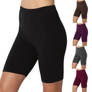 Polainas deporte de las mujeres Solid Media pierna de algodón elástico Span cintura alta activa vetement corto Legings