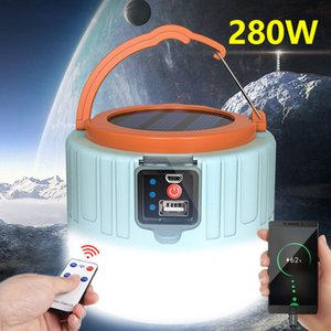 Foco Solar LED de luz de camping tienda portable llevada solar de emergencia Lámpara de control remoto de carga de teléfono al aire libre para ir de excursión de pesca