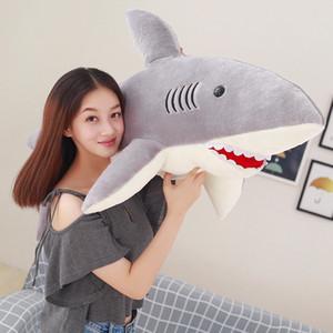 Gigante Plush Sharks Brinquedos Bichos de pelúcia Simulação Peixe Boneca macia tubarão Pillow Almofada Kids Brinquedos para Crianças Presentes de aniversário New MX200716