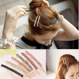 6yfUA Korean style colored hairpin lovely style children's hairpin shiny double Colored Diamond crystal Diamond row crystal one-character cl