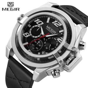 Creative MEGIR 2020 Fashion Men's Watch Top Brand Big Dial Leather Strap Quartz Watch Men's Sports Waterproof Watch Stopwatch