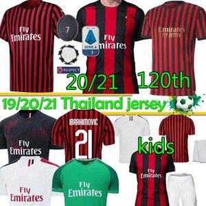 20 21 Milan AC IBRAHIMOVIC 21 ROMAGNOLI 120 TH AC Milan PIATEK Jersey SUSO 19 20 21 Football Shirt KESSIE Paqueta Shirt Soccer Jersey Thai