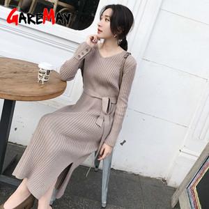 GareMay Kadın V Yaka Uzun Kollu Elbiseler Kadınlar Seksi İnce Elbise Kadınlar Moda Örgü Elbise Bayan Şık Rahat Streetwear