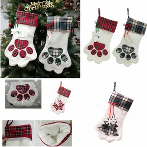 17inch Sherpa Hanging Christmas Stocking for Pet Dog Cat Large Paw Stocking Plaid Home Fireplace Decor candy gift bag FFA3172-1