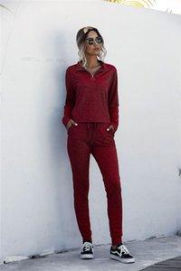 Verão Womens Designer Fatos Pure Color gola com calças Zipper longo sets manga comprida Esporte Womens Dois Pants Pedaço Define Primavera