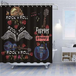 BESTORY Punk Style Bathroom Curtains Waterproof Polyester Fabric Skull Graffiti Bath Curtains Rock Guitar Music Home Shower Curtain Decor