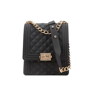 Ladies handbag high quality environmental protection waterproof PVC diamond diagonal cross bag black jelly chain shoulder bag wallet