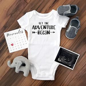 Bebé Monos 0-24M verano recién nacidos ropa de bebé de manga corta Let La aventura comenzar infantil Niño Niña Romper Trajes calientes