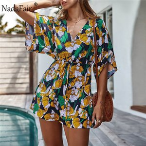 Nadafair Beach Playsuit Women 2020 Summer Casual Short Sleeve Tunic Sexy V Neck Boho Floral Rompers Womens Jumpsuit Shorts