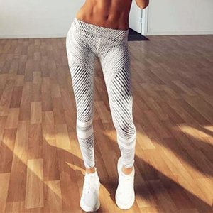 Women's black and white printing fitness tight Yoga tight pants sports leggings yoga pants