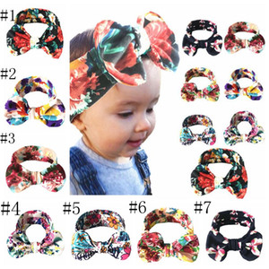 Headband Bow Baby Headband Floral Girl Bowknot Hairbands Cotton Headdress Elastico Bambini Turbani Neonati Capelli Capelli Accessori per capelli LSK425