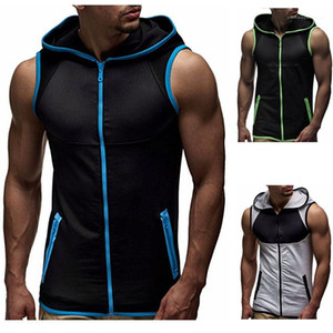 Color Sleeveless Hooded Vest Top Zipper Cardigan Tees Homme Clothing Summer Mens Designer Tshirt Casual Contrast