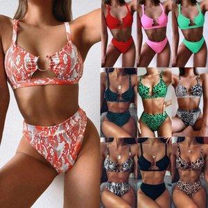 Swimsuit 2020 Explosion Modelle Badebekleidung Außenhandel Damen aufgeteilter Badeanzug grün Leoparden-Bikini neue feste Farbe Bademoden Europa ITZF #