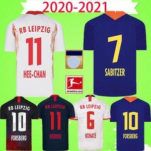 RB LEIPZIG soccer jersey football  shirt 새로운 19 20 축구 유니폼 홈 화이트 멀리 블루 베르너 Camiseta FORSBERG Maillot 할텐 베르크 SABITZER 2019 2020 축구 셔츠 키트 유니폼