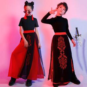 Novo estilo chinês Children Costumes Hip Hop Meninas Meninos Jazz Desempenho Outfit Passarela Roupa Modern Stage Wear DNV13406