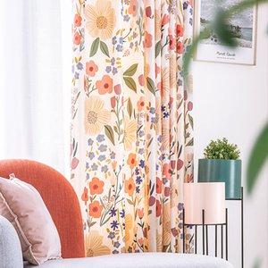RZCortinas Rideaux pour Chenille Salon épais rideau avec des fleurs imprimées Tentures pour rideaux Home Décor de luxe Chambre