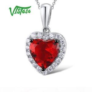 Kadın Kırmızı Kristal Taşlar Takı Seti Kalp Küpe kolye 925 Gümüş Moda İnce ve Vistoso Takı Setleri