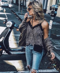 Women Polyester Sexy V Neck Leopard Print Camisole Tank Vest Blouse Lace Cami Crop Tops Drop Shipping