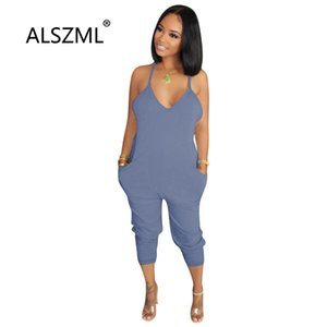 Summer hot sale sexy spaghetti strap v-neck lady jumpsuits pockets design calf-length pants casual sexy rompers
