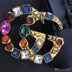 Women Designer Vintage Brooch Letter G Multicolor Crystal Luxury Brooch Suit Lapel Pin Fashion Jewelry Accessory High Quality