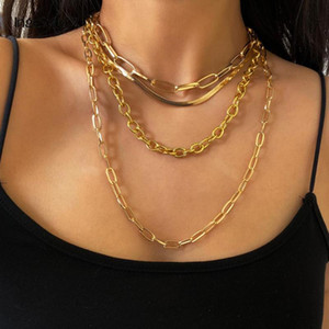 IngeSight.Z 4Pcs / Set Multi Layered Chunky Thick Miami Curb Cuban Halskette Gothic Goldfarbe Schlangenkette Halsketten Schmuck