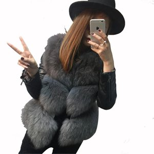 New 2017 Fashion Autumn Winter Coat Warm Women Faux Fox Fur Vest High-Grade Jacket Colete Feminino Plus Size 3XL Faux Fur Coat