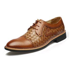 Zeguuer Marca Plus Size Homens vestido de couro Sapatos Formal comercial masculino Derby sapatos da moda Pointed Toe Deslizamento-em calçados