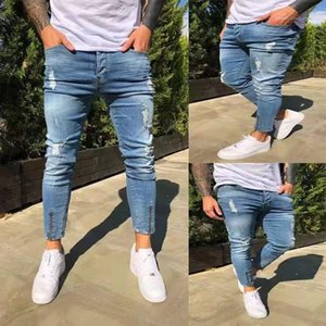 Biker Jeans Delik Skinny Yüksek Bel Elastikiyet Kalem Pantolon Moda Günlük Erkek Giyim Erkek 2020 Tasarımcı
