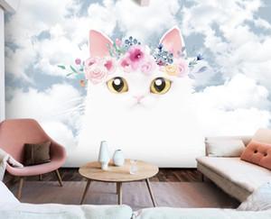 Modern Nordic Carton Cat Wallpaper Creative Kids Bedroom 3D Mural Contact Paper 3d Photo Animal Wall Paper Wall Decor Custom
