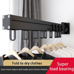 Black Folding Trocknung Rack Wandmontierte Teleskopwäsche Rack Indoor und Outdoor Einfache Kleidung Kleiderbügel Kleidung Haken Wäscheleine