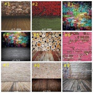 Pano de fundo Graffiti colorido Tijolo Fotografia Parede Plano de Fundo Hip Hop Partido Detalhes no Backdrops Madeira Pavimento papel de parede casa decoração 85 * 125 centímetros