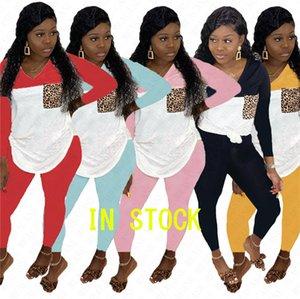 Maniche lunghe Donne Tuta leopardo Patchwork colori con cappuccio Pullover Blouse Tops + Leggings Pants 2 Parte dell'arco Plain sportivo SuitD71604