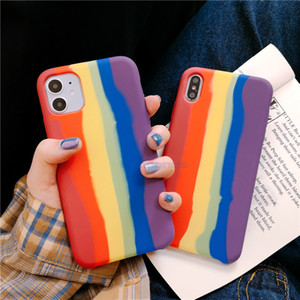 Rainbow color liquid silicone Phone Case for iphone 11 11Pro Max X XR XS 7 8 Plus SE case Matte soft silicone case capa