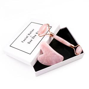 Regalo herramienta de estiramiento facial masajeador portátil Crystal juego de rodillos de masaje facial Rodillo de jade natural de cuarzo rosa de piedra de belleza Roller