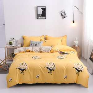 flowers Plant style  duvet cover RU US AU size yellow bedding set queen king size bed set bed sheet linen pillow shams 3 4pcs