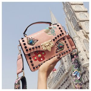 nOBxx women's new fashion Korean style all-match crossbody broadband embroidery Small square bag Embroidered strap rivet wide shoulder stra