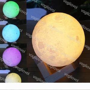 Moon Lamp 3D Printing LED Night Light 10cm 12cm 13cm 15cm 18cm 20cm Magical Moon LED Light USB Rechargeable Desk Lamp DHL