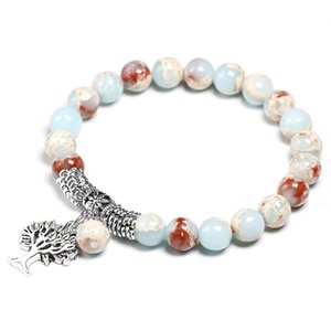 Blue Sea наносов Imperial Ясперс с деревом Подвесной Strand Браслеты браслеты для женщин Мужчины природного камня ручной работы из бисера Йога