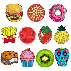Polyeater 비치 타올 150cm 햄버거 과일 인쇄 비치 피크닉 매트 도넛 피자 파인애플 라운드 얇은 비치 사롱 OOA8191