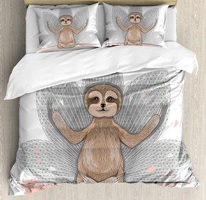 Sloth edredon cobrir Set pequena bonito preguiça Meditação Lotus Flower Yoga Asana Posições Fun cama Set Rosa Brown Grey