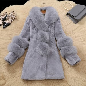 LIUJ QM invierno de mujeres de piel de oveja de alta calidad de las capas de las mujeres Abrigo de piel de imitación de piel de abrazadera exterior delgado de la chaqueta de pieles más el tamaño 258