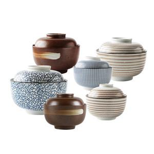 Zen Esprit japonais Bol avec couvercle pour le riz soupe de nouilles Vintage glaçure main Ragoût bols en céramique Soupière 4,5 pouces 6,5 pouces