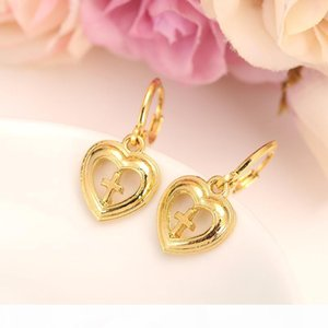 Europe women Jewelry set 18 k Fine Solid Gold filled heart cross Pendant Necklaces Earrings Ring Bridal Wedding Gift