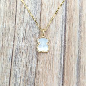 Otantik 925 Gümüş kolye Altın Ve Anne-Of-Pearl XXS Ayı Kolye Avrupa ayı Takı Stil Hediye 812782030 uyar