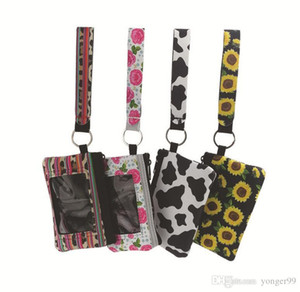 Sunflower Leopard Cow Flower Printed MultiFunction Neoprene Passport Cover ID Card Holder Wristlets Clutch Coin Wallet with Keychain